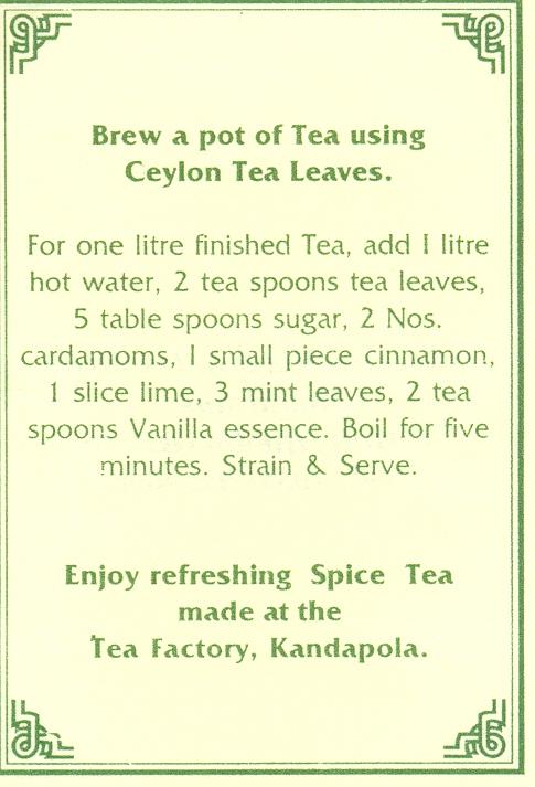 Ceilonas tējas recepte