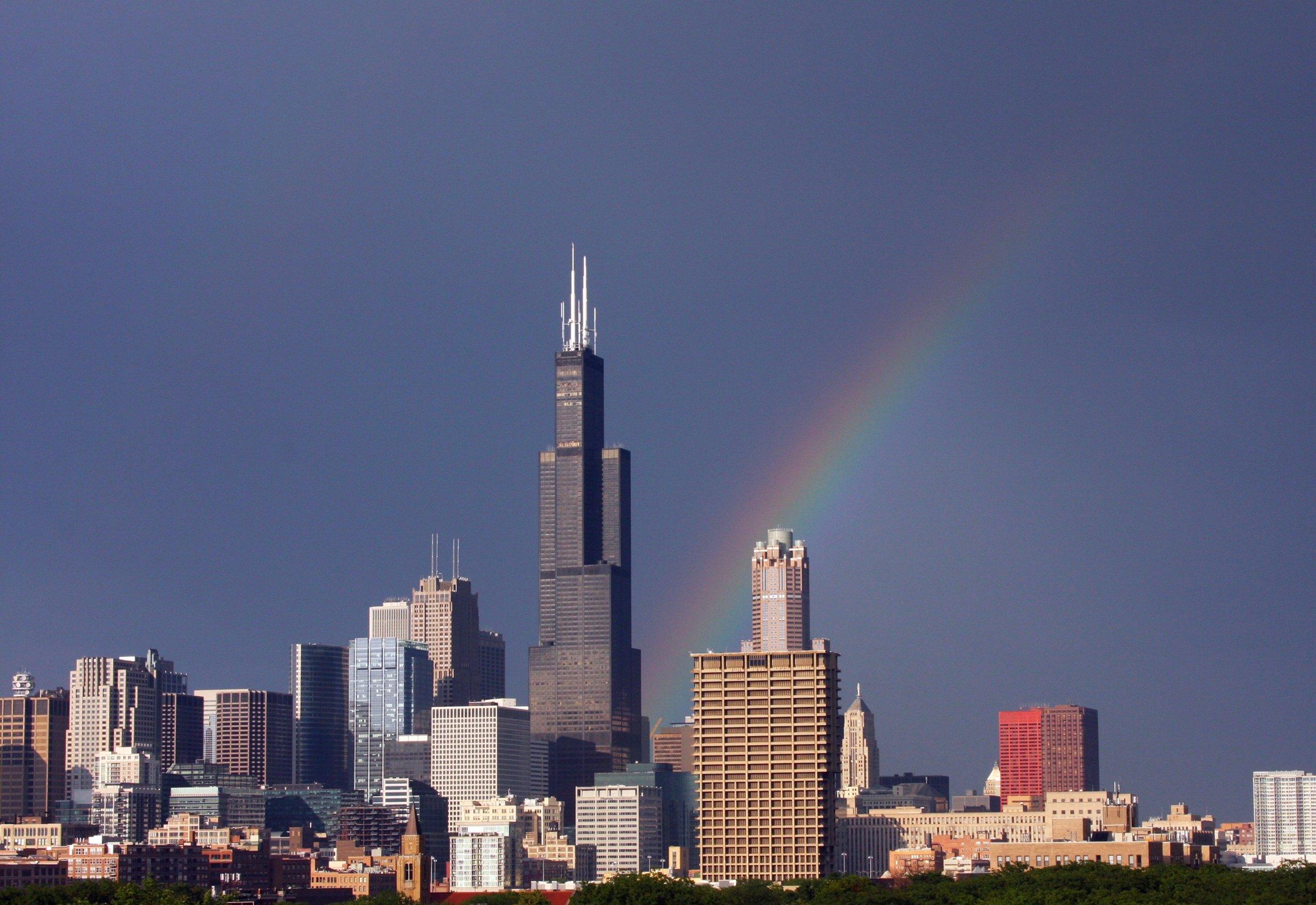 Varavīksne pēc lietus Čikāgā